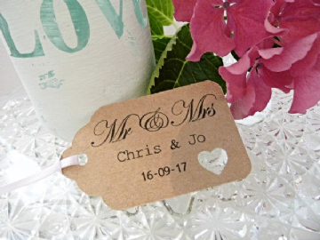 Personalised Wedding Favour Tags - Natural